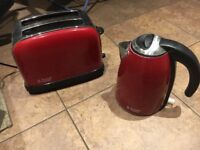 Russell Hobbs red kettle and toaster