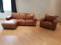 Used 3 seater brown leather chaise longue Furniture Village sofa and and matching armchair