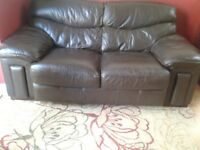 brown leather 2 seater sofa ..good quality & comfortable but fairly well worn..collection only