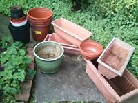 selection of garden pots , all plastic