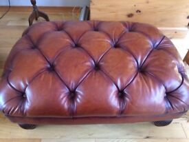 """""""Chesterfield"""" Style Luxury Footstool in Brown Leather"""