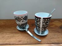Danish design - Pair of 'Menu' Thermo cups, 'Nordic Wool - NORWAY' pattern, with saucers & spoons