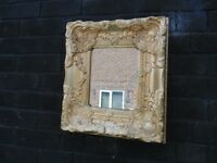 SOLID WOOD VINTAGE GOLDEN WALL MIRROR VERY SOLID MIRROR AND IT'S IN VERY GOOD CONDITION