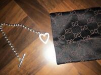 Genuine Gucci silver heart toggle bracelet