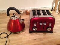Red Morphy Richards Kettle and Toaster