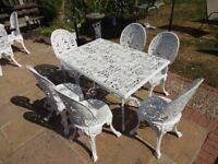CAST ALUMINIUM GARDEN / PATIO SET -- TABLE AND 6 CHAIRS --