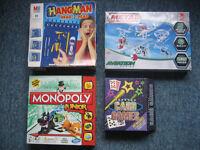 4 x Kids Boxes Metal Aviation/Monopoly/Hangman/Card Games(5-8yrs)