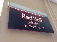 Retro Red Bull neon bar sign
