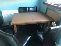 Dining table oak and six chairs extendable table