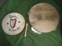Wooden 13 Inch Two Rows of Jingles Tambourine and 10 Inch Wooden Bodhran with Beater - £10.00 each