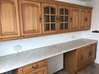 Kitchen units drawers cupboards glass doors worktop