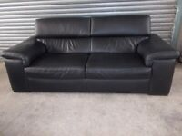 Genuine Natuzzi Italian Black Leather 3-seater Sofa (Suite) with matching Armchair