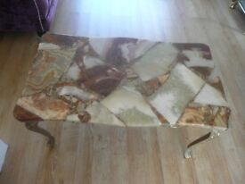 Marble Top Coffee Table with Gold Frame