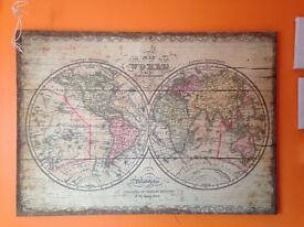 Antique looking world map on canvas