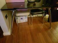 Black glass extendable table with silver legs