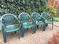 4 green garden chairs