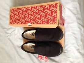 New Vans Slip on shoes. All black. Boxed. slip ons