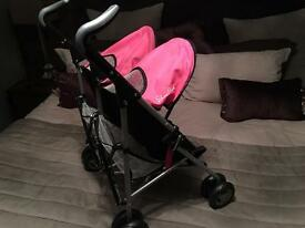 Silver. Ross Dolls Double Buggy