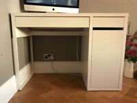 Computer desk (white) with drawers & cupboard