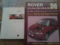 Haynes rover 200 series workshop manual and owners manual