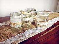 Shabby chic wedding jars - around 50