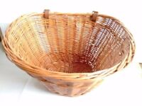 (1608) WICKER CANE D-SHAPE BASKET with leather straps FOR MOST ADULT BIKES; FRONT BICYCLE BASKET