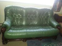 2&3 seats green leather sofas