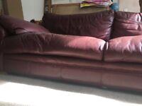 Burgundy DFS leather sofa