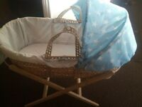 Moses Basket, Mattress and 2 sheets. Branded Very clean Smoke-free Pet-free home