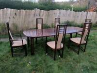 Vintage rosewood dinning table with 6chairs