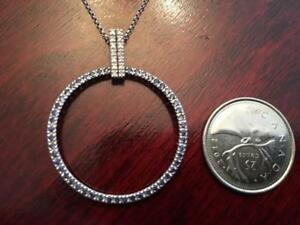 Brand New Natural Diamond and Sapphire in 14K white Gold Necklace in shape of Circle  Comes in a  nice box