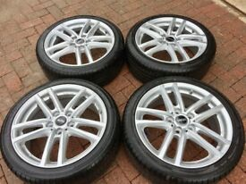 Set of four - 17 inch alloy wheels complete with tyres for Mini in excellent as new condition.