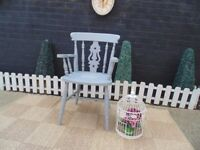SOLID PINE FARMHOUSE CARVER CHAIR PAINTED WITH LAURA ASHLEY PARIS GREY AND FINISH WAX