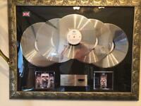 Framed Michael Jackson platinum record award