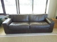FOR SALE : HABITAT 'FINN' THREE SEATER BROWN LEATHER SOFA.