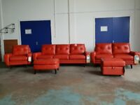 BRAND NEW OSLO LEATHER SUITE 3 + 2 SEATER SOFA ARMCHAIR & FOOTSTOOLS MADE BY FABB SOFAS CAN DELIVER