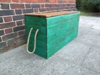 Rustic bench trunk/storage chest/blanket box/shabby chic/boho/peacock. Handcrafted reclaimed wood.