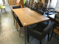 SOLID OAK ON INDUSTRIAL BASE TABLE WITH FOUR CHAIRS AND TWO CARVER TYPE CHAIRS