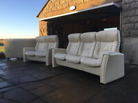 John Lewis white leather recliners VGC DELIVERY AVAILABLE