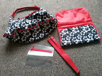 Baby Changing Bag - Black/White/Red floral design, complete with changing mat.