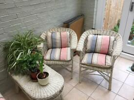 3 piece wicker chairs and table painted in F&B