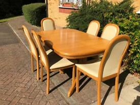 GERMAN HULSTA SOLID OAK EXTENTABLE DINING TABLE AND 6 CHAIRS **DELIVERY POSSIBLE