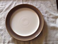 6x Denby White And Brown Dinner Plate