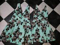 Pair of Topshop bridesmaid dresses sizes 14 & 6 uk