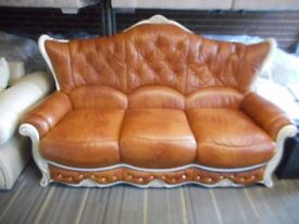 LEATHER ITALIAN 3 SEATER SOFA X DISPLAY SUITE £150 !!!!!!