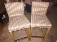 Two IKEA HENRIKSDAL Bar stools with backrest - 63cms high