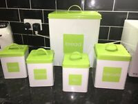 Bread bin, sugar ,tea, coffee and biscuit canisters