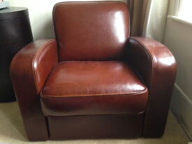 Single Leather Sofa in Chocolate Brown (superb condition)