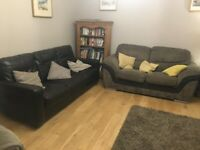 2 x Sofas - Chocolate Leather Sofa and Fabric Sofa for Sale