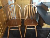 2 solid oak wood dining chairs